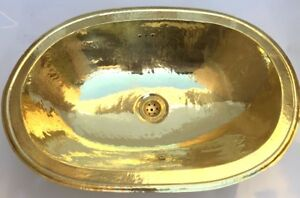 Sink Brass hand hammered oval basin sink - Artisanal Morocco sink