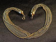 Vtg 9 Strand 2 Tone Dainty Ball Chain Choker Necklace Gold & Silver Tone 1960s?