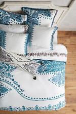 ANTHROPOLOGIE TURQUOISE BLUE OAKBROOK QUEEN DUVET COVER *BRAND NEW*