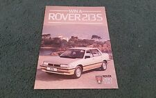1984 Rover série 200 A5 lancement Notice Brochure gagner un ROVER 213 S competition
