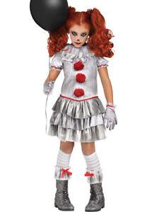 Kids Halloween Pennywise It Style Grey Carnevil Clown Girl Fancy Dress Costume