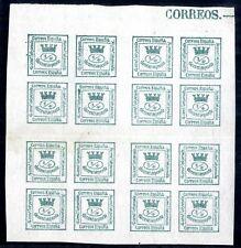 Sellos de España 1873 nº 130  4/4 cuarto,Bloque de Cuatro corona Mural