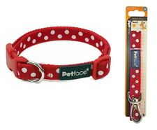Petface Adjustable Dogs Collar OR Dog Lead nylon Red White Polka Dots