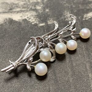 Mikimoto Pearls, Silver Pear Leaf Brooch AUTHENTIC