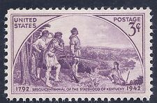 US stamp 1942 Kentucky Sesquicentennial Statehood 3 cent stamp MNH WW2 Era stamp