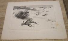 EAU FORTE DE Courbet Gustave biche forcee dans la neige imp taneur paris