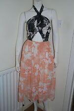 RIVER ISLAND Peach Floral Halterneck Midi Tutu Wedding Party Dress UK 6 BNWT