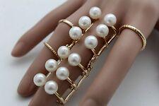 Damen Gold Metall 5 Ringe-Set Modeschmuck Ehering Elfenbein Imitation Perlmutt
