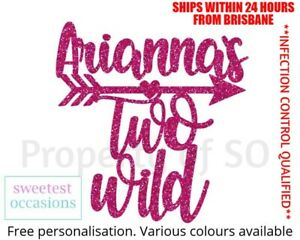 Personalised Custom TWO WILD with arrow Second birthday Cake Topper