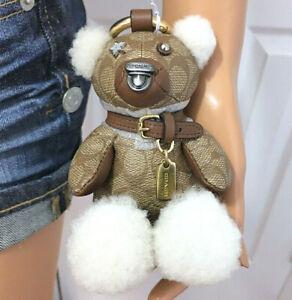 COACH Bear Keychain Bag or Backpack Signature Charm NWT