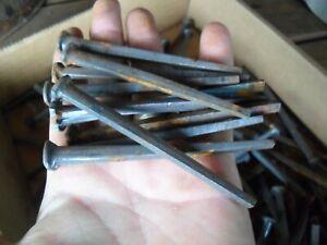 "100 Antique 1920's  NOS Square Cut  20D  4"" Iron Nails For Restoration, Rustic"