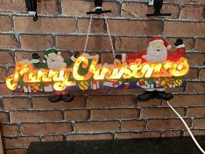 Vintage Merry Christmas Light Up Sign Decoration fully works 80's,3 type lights