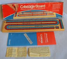 Fun Vintage 1983 Pressman Cribbage Wooden Board Game in Box (Missing Some Pegs)