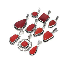 Bulk Sale !! 10 PCs. RED CORAL Gemstone 925 Sterling Silver Plated Pendant