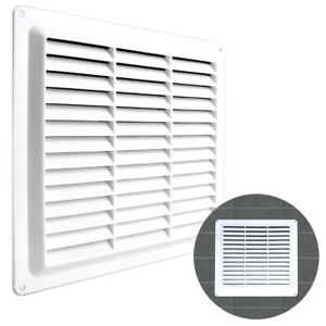 """WHITE LOUVRE VENT COVER 9"""" X 9"""" Square Air Brick Grille Duct Ventilation Wall UK"""