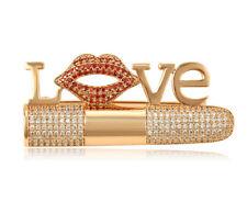 Luxus Brosche Lippen LOVE mit SWAROVSKI® Kristallen Anstecknadel 18K Gold pl
