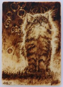 ACEO - Original Miniature Kitten Pyrography (Wood Burning) Drawing