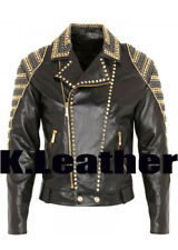 New Balmain Black Golden Silver Studded Zippered Classic Leather Jacket