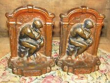 "Wonderful Antique Pair Of Heavy ""Thinker"" Cast Iron Painted Book Ends-Nice ! !"
