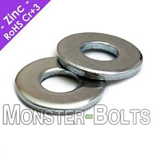 US / Inch - USS Flat Washers, Cr+3 Zinc Plated Steel, #10, 3/16