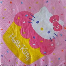 HELLO KITTY Pink Cupcake LUNCH NAPKINS (16) ~ Birthday Party Supplies Serviettes
