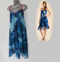 MONSOON Blue Butterfly Print Straps Asymmetric Hem Silky Dress UK 12  EU 40