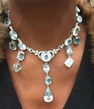 Huge Chistick 149 ct aquamarine diamond 14k gold Platinum necklace choker 14in