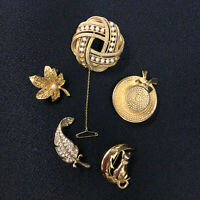 Womens Set Of 5 Gold Coloured Tone Brooches Dress Costume Jewellery Pin Bundle
