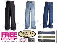 "Bleubolt 24"" Hem Skater Baggy Trousers Loose Fit Jeans in 5 Colours Style 2285"