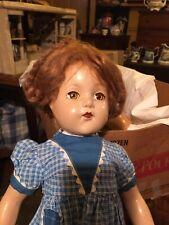 21� Vintage Effanbee Little Lady Anne Shirley Doll Brunette Compo - Cute