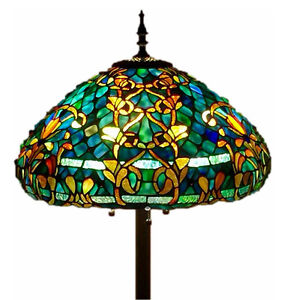 """Tiffany Style Stained Glass Floor Lamp """"Azure Sea"""" w/ 20"""" Shade - FREE SHIP USA"""