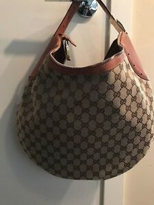 Large Monogrammed Canvas Gucci GG Hobo Handbag