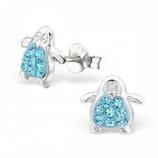 Childrens Girls Sterling Silver Penguin Crystal Stud Earrings Aqua - Pouch