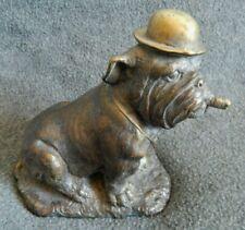 Vintage ORIGINAL Cast Bronze CHURCHILL BULLDOG ENGLISH Dog Hat Tie Cigar STATUE