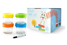 4*120ml Baby Glass Food Storage Container/Jar-Mwave/Freezer Safe + Portion Cntrl