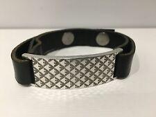 Nuevo - Pulsera Bracelet EMPORIO ARMANI - Plata & Piel Negra - Silver & Leather