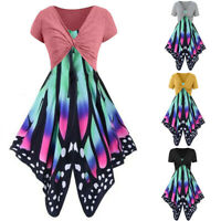 Women's Summer Fresh Butterfly Print Mini Dress Sling Pullover Two-piece Suits