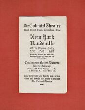 Rare 1912 COLUMBUS Ohio COLONIAL THEATRE Advertising BROCHURE w/Intact TICKET