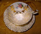 QUEEN ANNE FOOTED WIDE TEA CUP & SAUCER SET FLORAL BOUQUET IN GOLD PATTERN 396