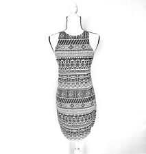 Hollister Womens Knit dress MEDIUM White Black Azdac Sleeveless stretch M fitted