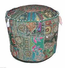 "Patchwork Vintage Round Footstool Cover 14X22"" Indian Throw Ethnic Ottoman Pouf"