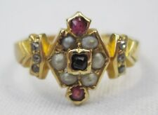 Victorian Antique 18ct Gold Rose Cut Diamond Ruby & Seed Pearl Ring Size M