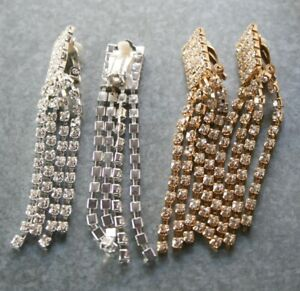 Clip-on sparkling crystal earrings, silver or gold color, chandeliers design