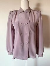 VNTG TED LAPIDUS PARIS 80'S LILAC PURPLE 100% SILK MADE IN FRANCE BLOUSE M