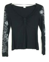 Venus Women's Black & White Floral Long Sleeve Top size S V-neck Viscose CQK