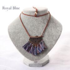 Women Bohemian Ethnic Style Long Tassel Charm Metal Triangle Pendant Necklace Royal Blue