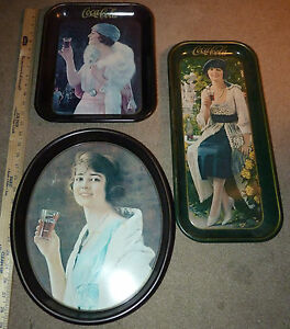 Lot 1973 COCA COLA Collectible Metal Trays w Hole Wall Hanging COKE Advertising
