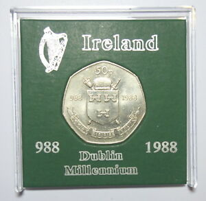 IRELAND: COMMEMORATIVE DUBLIN FIFTY PENCE COIN 1988 IN DISPLAY CASE. KM 26.