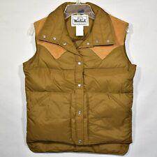 Vintage Woolrich Goose Down Puffer Vest Pearl Snap Suede Trim Womens Medium NWOT