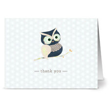 Woodland owl - 36 Thank You Note Cards - Off-White Ivory Envs